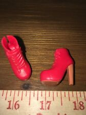 Barbie Tan Red Faux Laces Ankle Spiked Fairytale High Heels Boots Victorian