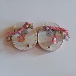 Build A Bear Flip Flops Pink Flowers White Clear Strap Sandals Shoes