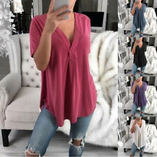 Women Summer Short Sleeve T Shirt Casual V-Neck Solid Blouse Solid Loose Tops