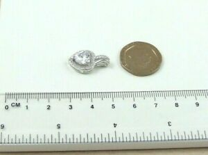 Solid 925 Sterling Silver Cubic Zirconia CZ Set Heart Pendant Only