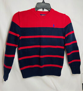 Polo Ralph Lauren Youth Boy's Size-M(10-12)Sweater Red/Navy Stripe Long Sleeve