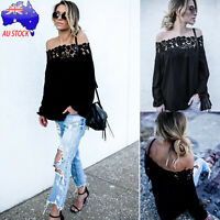 Fashion Women Off Shoulder Lace Long Sleeve Party Tops Casual Blouse T Shirt Tee