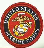 United States Marine Corps Iron-On Patch USMC Emblem Red Border