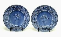"BORDALLO PINHEIRO Salad Plate 8 1/8"" EMBOSSED Blue Pear Apple Set of 2 BP165"