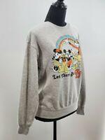 Disney Womens Gray Mickey Mouse Print Long Sleeve T Shirt Size XS