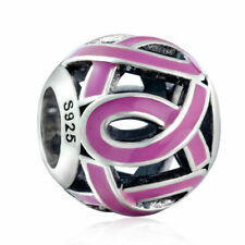 💖 Pink Ribbon Awareness Cancer Hope Genuine 925 Sterling Silver Charm Bead 💖