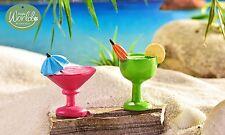 Beach Drink w Umbrella  set 2 Asst GI 700986 Miniature Fairy Garden Dollhouse D