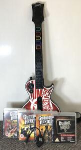 Aerosmith Guitar Hero Les Gibson Controller, Dongle & Games PlayStation 3 PS3