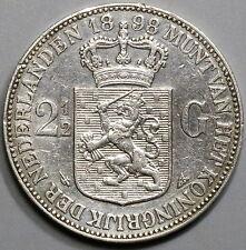 1898 NETHERLANDS Silver 2 1/2 Gulden Crown Wilhelmina Coin (17041146R)