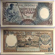 INDONESIE billet neuf de 10 rupiah  1958 Pick56 BEAU BILLET sculpteur sur bois