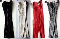 ZARA Woman BLACK IVORY RED Denim Studded Skinny Jeans Trousers UK6 8 10 £39.99