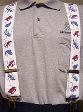 """Suspenders 2""""x48"""" FULLY Elastic Fish Assorted Cajun NEW White"""
