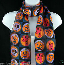 Halloween Time Scarf Skull Pumpkin Haunted House Womens Gift Scarfs Scarves New