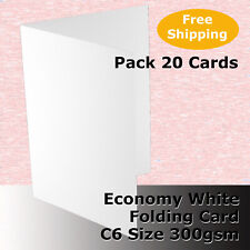 100 X C6 Scored Folding White Economy Card 300gsm Folds to 110x155mm #h5522a