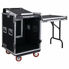 Sound Town 14-Space Rack/Road Case w/ Slant Mixer Top, Standing Table Stmr-14Uwt