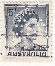 AUSTRALIA 1959. 5D. Queen Elizabeth II QEII. PERFIN. USED. NG