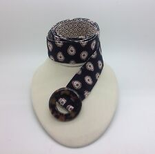 "VERA BRADLEY Black Red White Paisley Cloth Belt Tortoise Buckle Sz Med 1 1/2"""