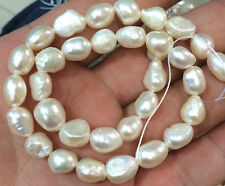 """Pearl 9-10mm Natural Baroque White Freshwater Real Pearl Loose Beads 14"""" Strand"""