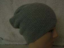 Made in Scotland Beautiful,100% Lambswool, Honeycomb  Slouch Beanie, Grey