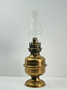 """French Oil Lamp Vintage Brass metal center draft 9"""" plus chimney working wick"""