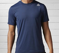 Reebok Workout Mens Tee Breathable Comfort Fit Technical Top Navy UK Small*Ref98