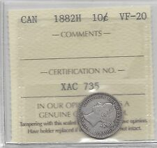 **1882H**, ICCS Graded Canadian,  10  Cent, **VF-20**