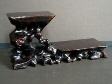 Ancien SOCLE BOIS AJOURE CHINE pierre dure sculpture antique chinese wood base
