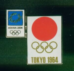 ATHENS 2004. OLYMPIC GAMES. PIN DEPICTING. POSTER OF TOKYO 1964 GAMES