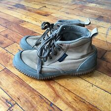 Vintage LL Bean Khaki Chukka Boots Women's 8.5 Olive Canvas Rubber Duck Shoes