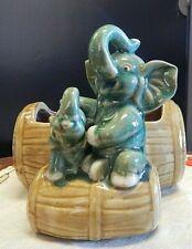New listing Ceramic Elephant Mother & Baby on Barrels Planter/Vase 1950s Retro Kitsch