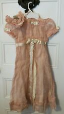 Antique Child's Crepe ? Dress with Silk Slip and Wire Hat - Charming