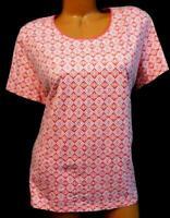 Kim rogers pink tribal print scoop neck short sleeve women's plus size top XL