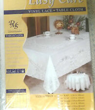 White Vinyl Lace Easy care No iron Wipe Clean PVC Tablecloth SIZE 135CM X180CM