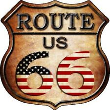 Route 66 American Flag Aluminum Metal Novelty Highway Shield Sign