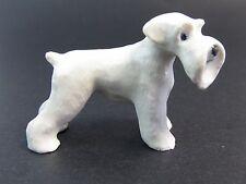 Miniature Porcelain Hand Painted Dog figurine - Schnauzer- White - Tiny