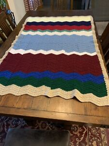 Vintage Handmade Afghan Knit Acrylic Wavy Abstract Tan Green Red Blue Blanket