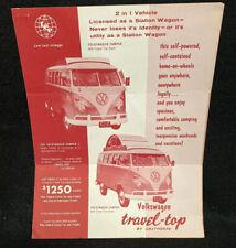 1962 VW Volkswagen Travel Top Camper Bus Sales Brochure Accessories Catalog