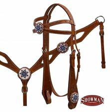 WESTERN SADDLE HORSE HAND BEADED HEADSTALL BRIDLE W/ REINS & BREAST COLLAR PLATE