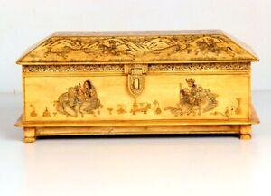 Vintage Look Decorative Hand Painted Mughal Solid Camel Bone Trinket Box 11076