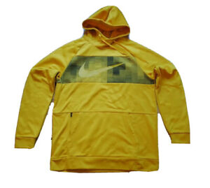 Mens Nike Swoosh Logo Therma Fleece Pullover Hoodie Size M Yellow Black CU7827