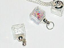 1 small Ice Cube Glass Crystal Bottle fairy dust Locket vial Screw cap top 11mm*