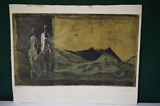 Karl Brandstatter Signed Numbered Abstract Etching of 2 Nudes in Landscape