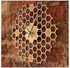 Unique Modern Honey Comb Natural Eco Friendly Bamboo Hexagon Silent Quartz Move