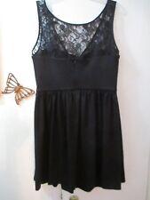 AQUA -  Black Knit Sleeveless Dress with Sheer Lace Yoke  -  Size L (runs small)