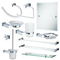 Wall Mounted Bathroom Accessories Chrome & Glass Rust Proof Collection   Trinity