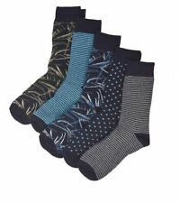 Ex M&S Men's Cool and Freshfeet Blue Mix Cotton Sock 5 Pack Size 8-12 RRP £12