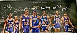 Knicks Legends Signed 14x32 LE 100 Photo Frazier, Anthony, King, Ewing Fanatics