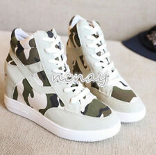 Womens Fashion Camo Sneakers Lace Up Hidden Wedge Heels Pumps Casual High Top SZ