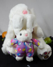 Large White Easter Bunny with long ears & baby bunny