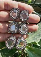 Handmade 925 Sterling Silver Crystel Diamond Earrings Wedding For Gift E-1345